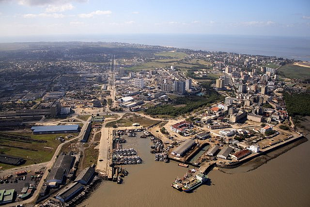 Port of Beira, with fishing port in centre, appearing in Africa PORTS & SHIPS