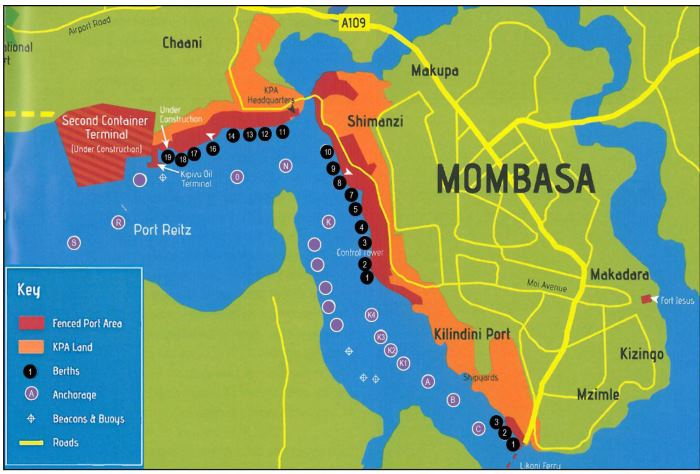 Port of Mombasa map, appearing in Africa PORTS & SHIPS
