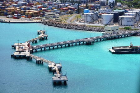 Port Louis Oil Jetty, appearing in Africa PORTS & SHIPS