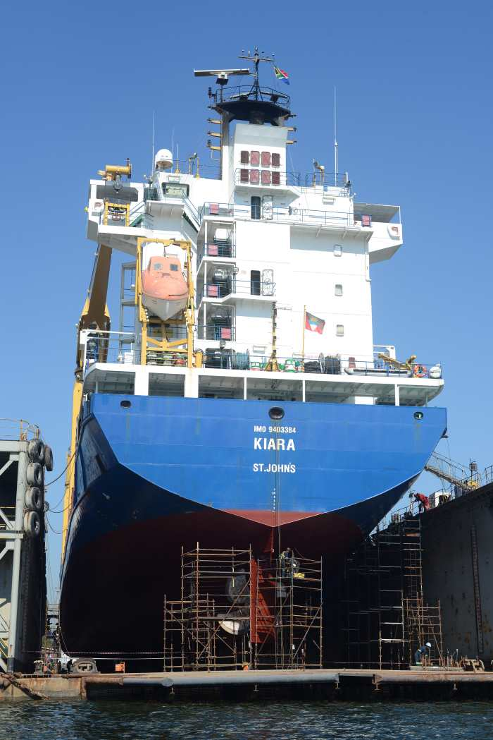 general cargo ship KIARA on Eldock floating dock in Durban