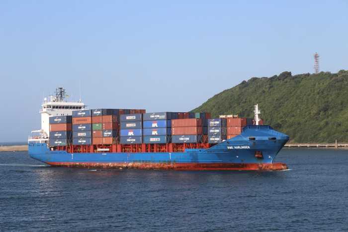 container ship WMS Harlingen arrives in Durban, April 2017