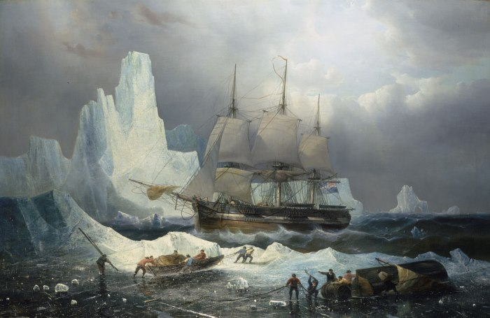 HMS Erebus in the Ice, 1846 by Francois Etienne Musin. Appearing in Africa PORTS & SHIPS maritime news