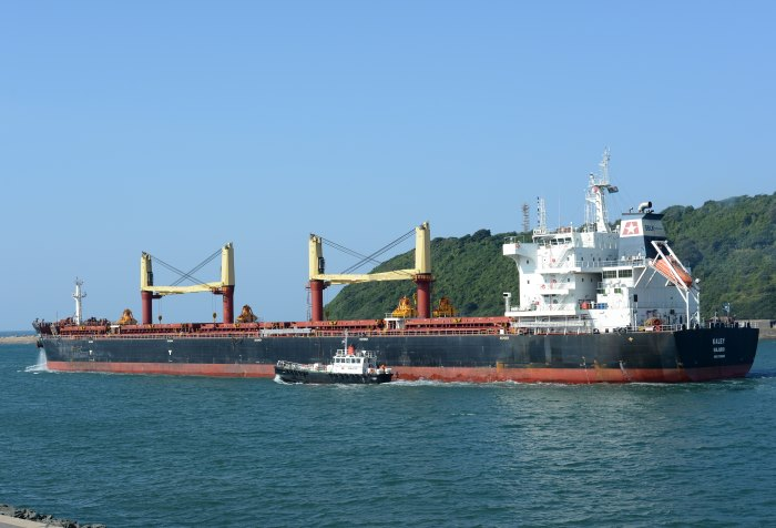 bulker Kaley departs from Durban. Picture by Trevor Jnes in Maritime News