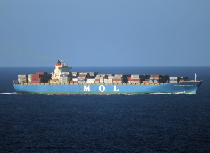MOL Proficiency underway off Durban. Picture: Ken Malcolm and appearing in Africa PORTS & SHIPS maritime news