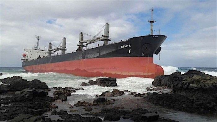 MV Benita, aground on the Mauritian coast in 2016. The ships wasrefloated by later sank under tow. Appearing in Africa PORTS & SHIPS maritime news