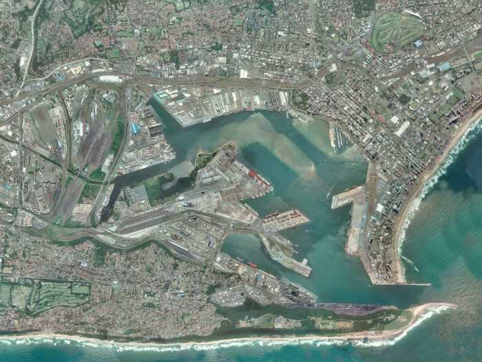 overhead pictures of Durban port and environs, in Africa PORTS & SHIPS Maritime News