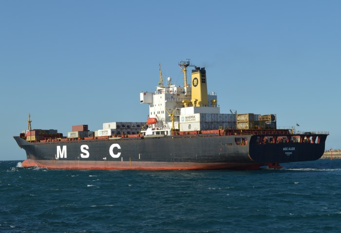 MSC ALICE at Durban. Picture: Trevor Jones, appearing in Africa PORTS & SHIPS maritime news