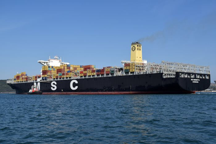 MSC Benedetta in Durban, by Trevor JOnes. Appearing in Africa PORTS & SHIPS maritime news