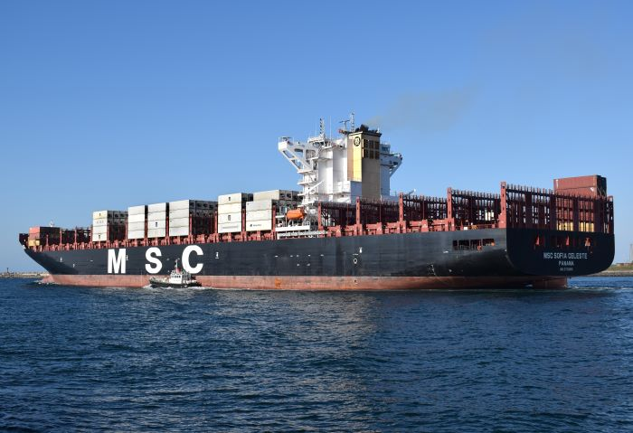 MSC Sofia Celeste departing from Durban, appearing in Africa PORTS & SHIPS shipping & maritime news. Picture: Trevor Jones