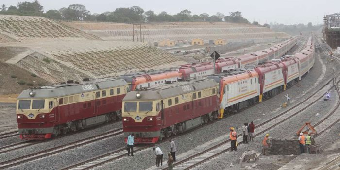 Newly arrived locos and coaches for Kenya's SGR. The locos on front of the trains are construction locos, appearing in Africa PORTS & SHIPS maritime news