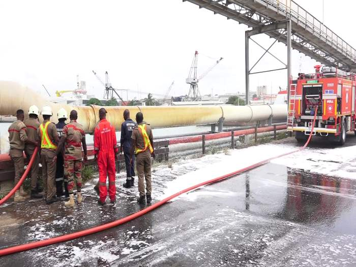 Pipeline leak at Tema dockyard, appearing in Africa PORTS & SHIPS maritime news