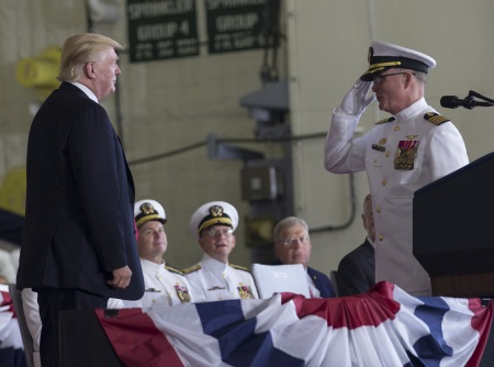 Captain Richard McCormack, Commanding Officer of the aircraft carrier USS Gerald R Ford (CVN 78), salutes President Donald J Trump as he assumes command during the ship's commissioning ceremony at Naval Station Norfolk, Virginia. US Navy photo by Mass Communication Specialist 3rd Class Gitte chirrmacher/Released. Photo © USN, appearing in Africa PORTS & SHIPS shipping and maritime news