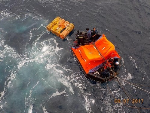 one of the life rafts with crew onboard, appearing in Africa aPORTS & SHIPS maritime news