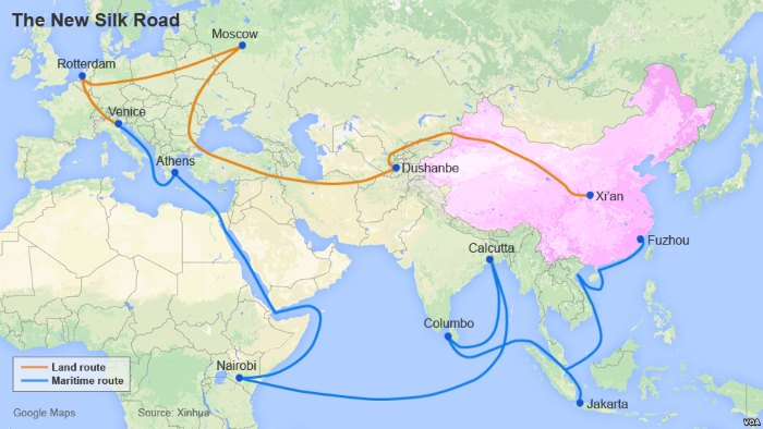 Silk Road map which specifically lists East Africa as an integral part of China's plans to establish vital trade routes, appearing in Africa PORTS & SHIPS maritime news