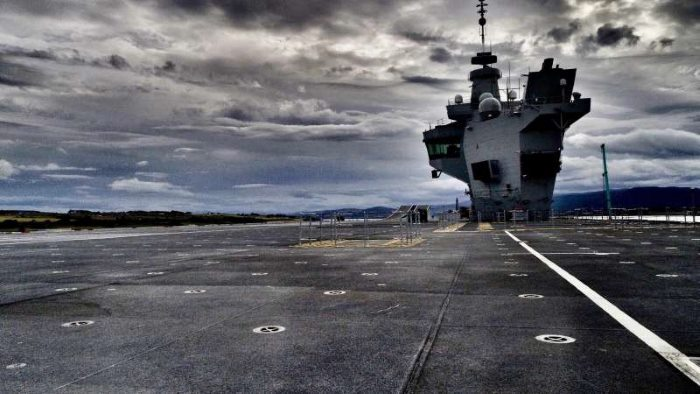 Scene from HMS Queen Elizabeth's flight deck taken by the drone after it landed, appearing in Africa PORTS & SHIPS maritime news