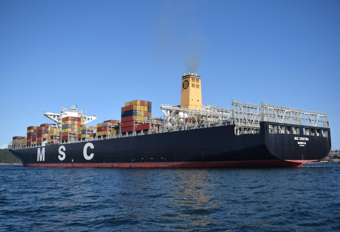 MSC Cristina departing from Durban. Picture: Trevor Jones, appearing in Africa PORTS & SHIPS maritime news