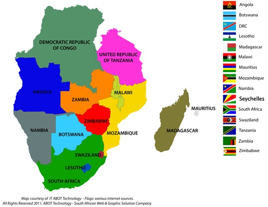 Map showing the SADC countries, appearing in Africa PORTS & SHIPS maritime news