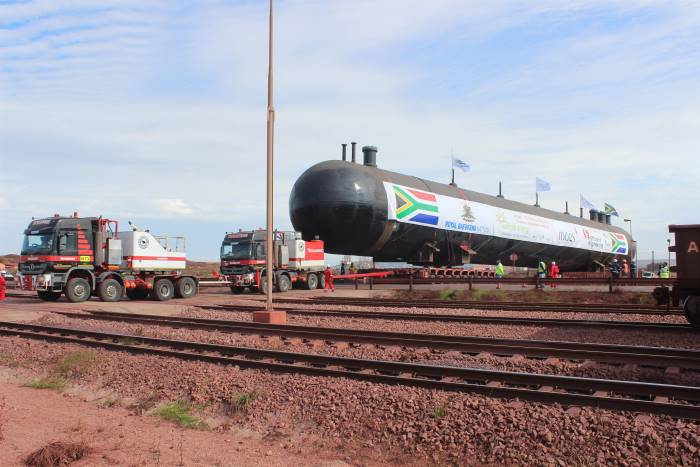 The second of five 600-ton LPG storage tanks being delivered to the Sunrise Energy terminal in May this year. All five have since been delivered. Picture: TPT, appearing in Africa PORTS & SHIPS maritime news