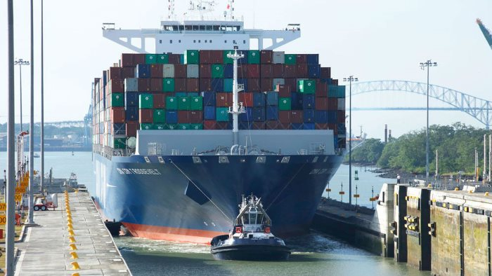 CMA CGM Theodore Roosevelt in the Panama Canal, appearing in Africa PORTS & SHIPS maritime news