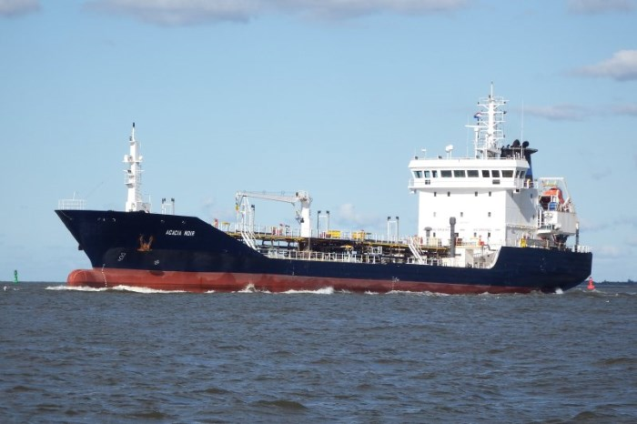 The bitumen tanker Acacia Noir. Picture: courtesy Shipspotting, appearing in Africa PORTS & SHIPS maritime news