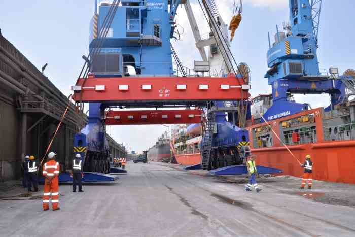 The two new mobile cranes being unloaded at Mombasa. Picture: KPA, appearing in Africa PORTS & SHIPS maritime news