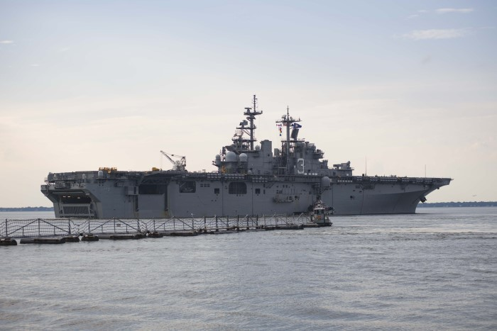 On 31 August the amphibious assault ship USS Kearsarge (LHD 3) departed Naval Station Norfolk to support Hurricane Harvey relief efforts. US military assets are supporting FEMA as well as state and local authorities in rescue and relief efforts in wake of Hurricane Harvey. US Navy photo by Mass Communication Specialist 3rd Class Casey J Hopkins/ Released. USN ©, as appearing in Africa PORTS & SHIPS maritime news