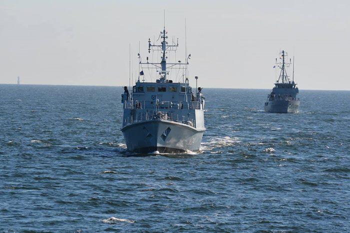 Estonian minehunter ENS Sakala and German minehunter FGS Sulzbach-Rosenberg. Photo by Tālis Dzērve © kindly provided by NATO MARCOM ©, as appearing in Africa PORTS & SHIPS maritime news