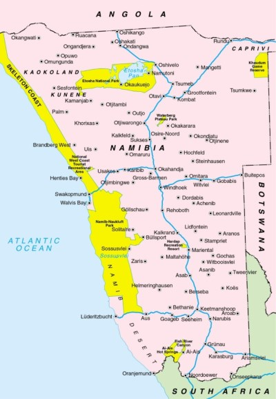 map of Namibia, appearing in Africa PORTS & SHIPS maritime news