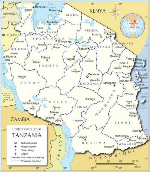 Tanzania map Administrative, as appearing in Africa PORTS & SHIPS maritime news