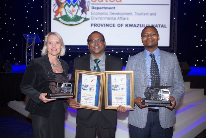 Among those attending the KZN Exporter of the Year awards were Bronwyn Bamber, Morgan Moodley (Sappi), and Elijah Masondo, appearing in Africa PORTS & SHIPS Maritime News