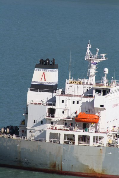 Axios funnel, in Lyttelton harbour, by Alan Calvert, appearing in Africa PORTS & SHIPS maritime news