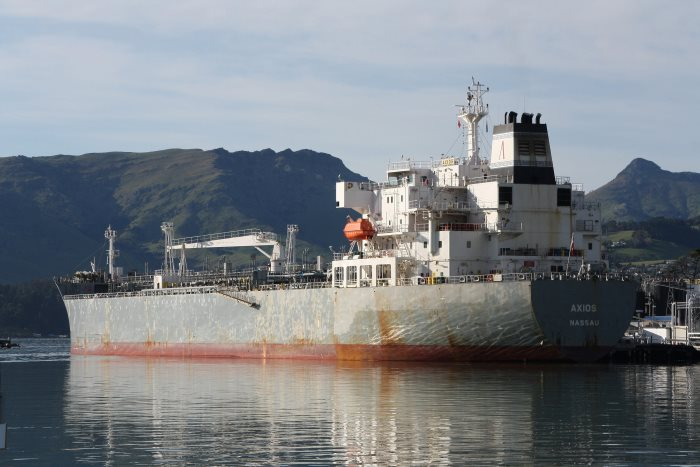 Axios in Lyttelton harbour, by Alan Calvert, appearing in Africa PORTS & SHIPS maritime news