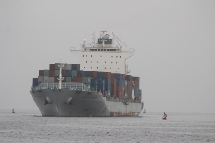 Cosco Kawasaki approaching the port of Walvis Bay. Picture: Namport, appearing in Afria PORTS & SHIPS maritime news