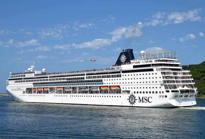 MSC Sinfonia departs Durban on one of her summer cruises of 2016. Picture: Trevor Jones, appearing in Africa PORTS & SHIPS maritime news