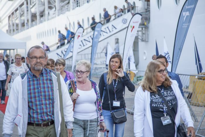 passengers disembark in Durban from MSC Sinfonia after a 23-day voyage from Venice, 30 October 2017, appearing in Africa PORTS & SHIPS maritime news
