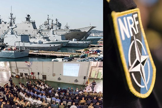 Upper left: Brilliant Mariner 2017 NATO participating units berthed at Toulon Naval Base. Lower left: Warship representatives and international participants attending Pre-Sail conference on board FS Mistral. Right: NATO Response Force badge. NATO Photos by FRAN CPO Christian Valverde. All graphics ©NATO MARCOM, appearing in Africa PORTS & SHIPS maritime news