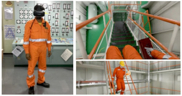 Onboard safety training on MOL ships using virtual reality (VR) goggles - screen shows trainee moving down the stairs and a safety measure; appearing in Africa PORTS & SHIPS maritime news