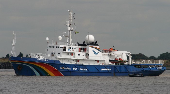 Greenpeace's Esperanza, now in Congolese waters but barred from berthing at Pointe Noire, report appearing in Africa PORTS & SHIPS maritime news
