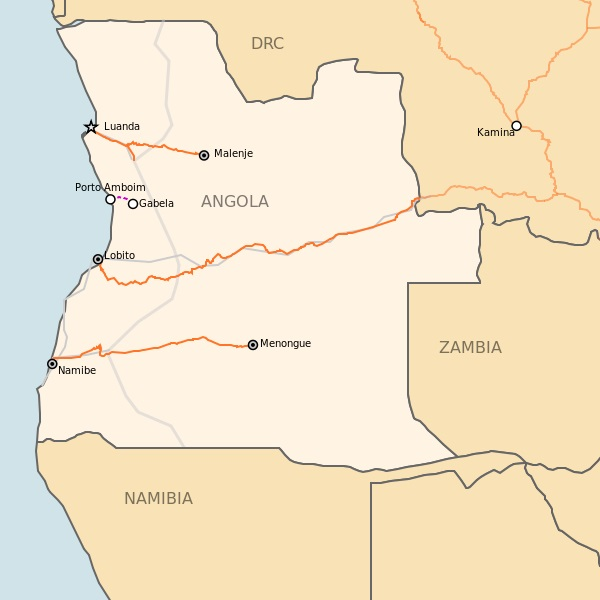Angolan railway network, with the rebuilt Benguela Railway extending eastwards from the port of Lobito to the DRC border, appearing in Africa PORTS & SHIPS maritime news