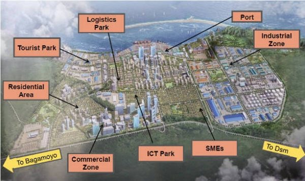 Proposed layout of the future Bagamoyo special economic zone, appearing with Africa PORTS & SHIPS maritime news