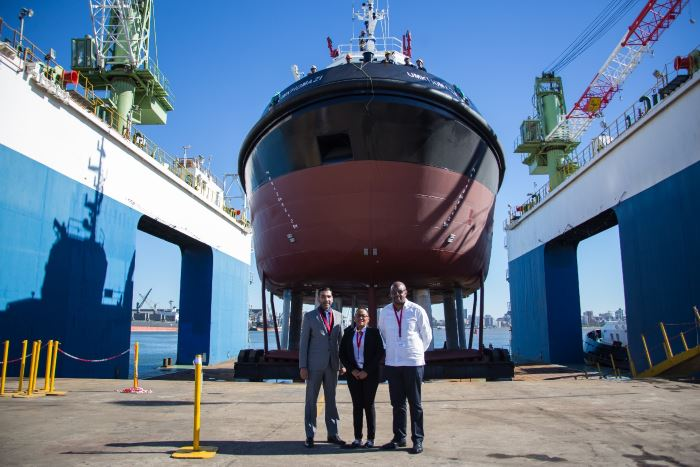 Top: CEO of Southern African Shipyards, Prasheen Maharaj, TNPA GM: Commercial & Marketing and Lady Sponsor of UMKHOMAZI, Lauriette Sesoko, and Port Manager: Port of Durban Moshe Motlohi, with the port's new UMKHOMAZI tug. Picture: TNPA