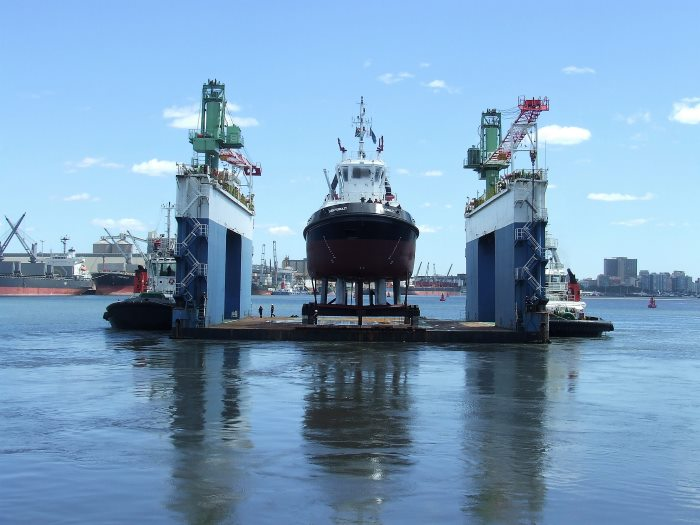 Umkhomazi on the floating dock and about to be launched into the waters of Durban Bay. Picture: Terry Hutson, appearing in Africa PORTS & SHIPS maritime news