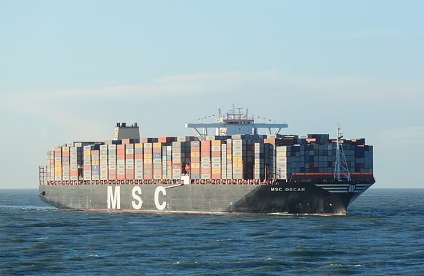 The 19,400-TEU MSC Oscar, appearing in Africa PORTS & SHIPS maritime news