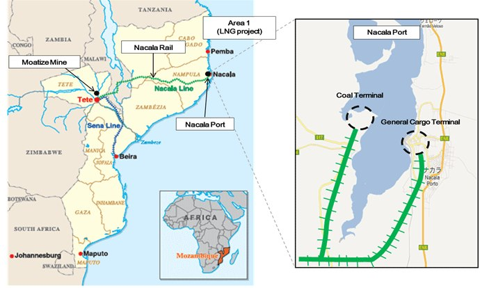 Nacala and Sena Railways. map: Mitsui, appearing in Africa PORTS & SHIPS maritime news