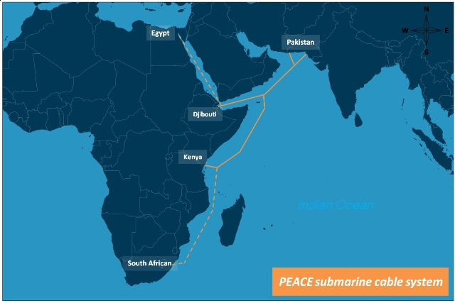The PEACE cable to e laid between Pakistan and East Africa, appearing in Africa PORTS & SHIPS maritime news