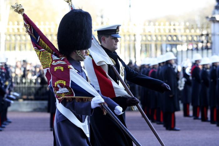 They are changing the Guard at Buckingham Palace in more ways than one, as 48 sailors from across the Royal Navy have taken their places in history, on the forecourt of HM Queen's London residence. Photo: MoD Crown Copyright 2017 ©, appearing in Africa PORTS & SHIPS maritime news