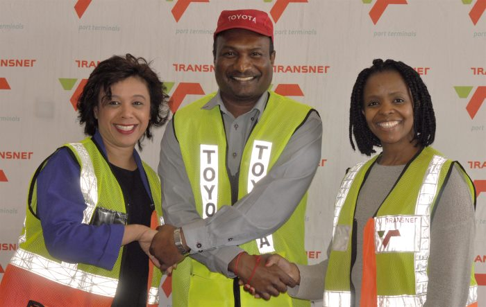 SIE Launch – Michelle Phillips (Transnet Port Terminals GM: Business Development and Freight Solutions), Brian Gavendor (Toyota) and Amanda Siyengo (Transnet Port Terminals GM: KZN Operations, Bulk, Break-Bulk & Cars). Picture: TPT, appearing in Africa PORTS & SHIPS maritime news