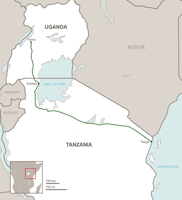 route of the Uganda-Tanga pipeline, appearing in Africa PORTS & SHIPS maritime news