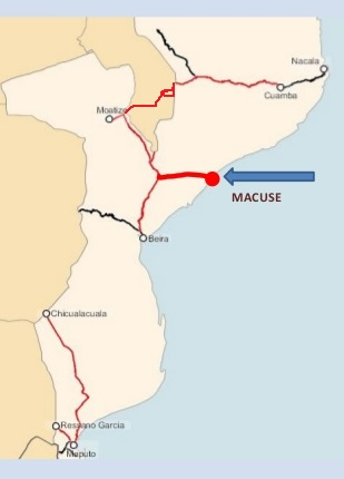Mozambique's future Moatize-Macuse railroad, appearing in Africa PORTS & SHIPS maritime news