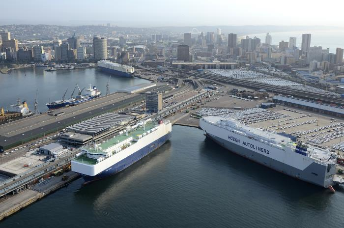 Three car carriers at the Durban Car Terminal, a fairly normal event in the life of the port. Picture is by Chris Hoare / www.aerialphotosetc.co.za, featured in Africa PORTS & SHIPS maritime news